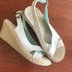 Shoes - Crocs wedge sandals Sz 8